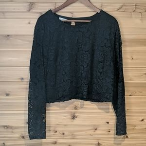 Maurices Plus Black Lace Crop Long Sleeve Top 2